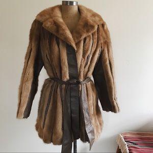 Vintage Genuine Mink Fur and Leather Belted Coat L
